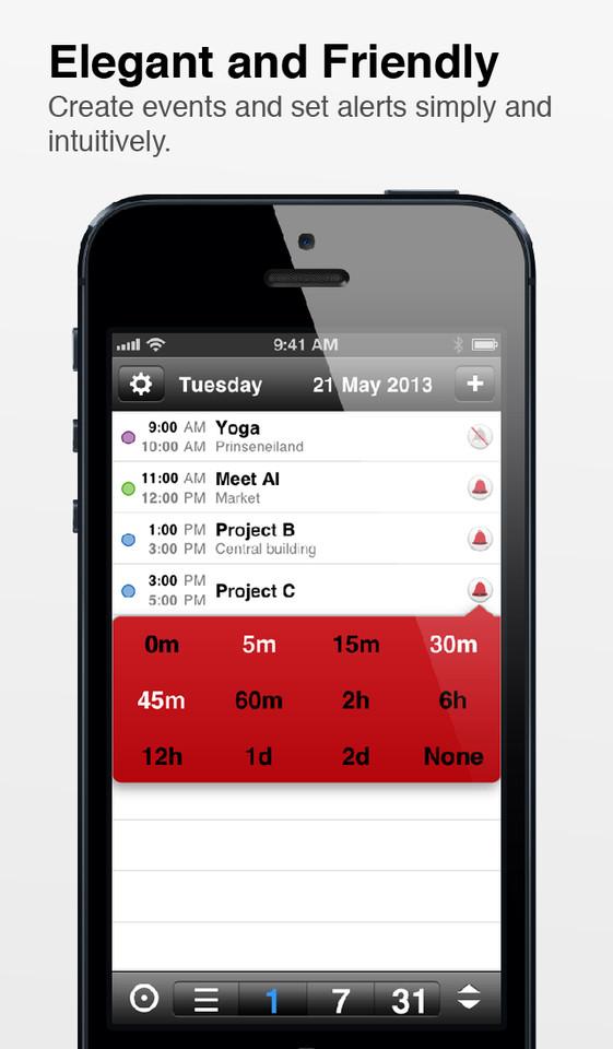 Supercal snel alarm instellen iPhone