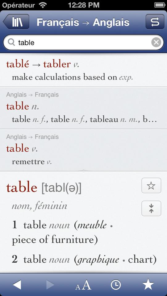 Ultralingua woordenboek iPhone Frans Engels