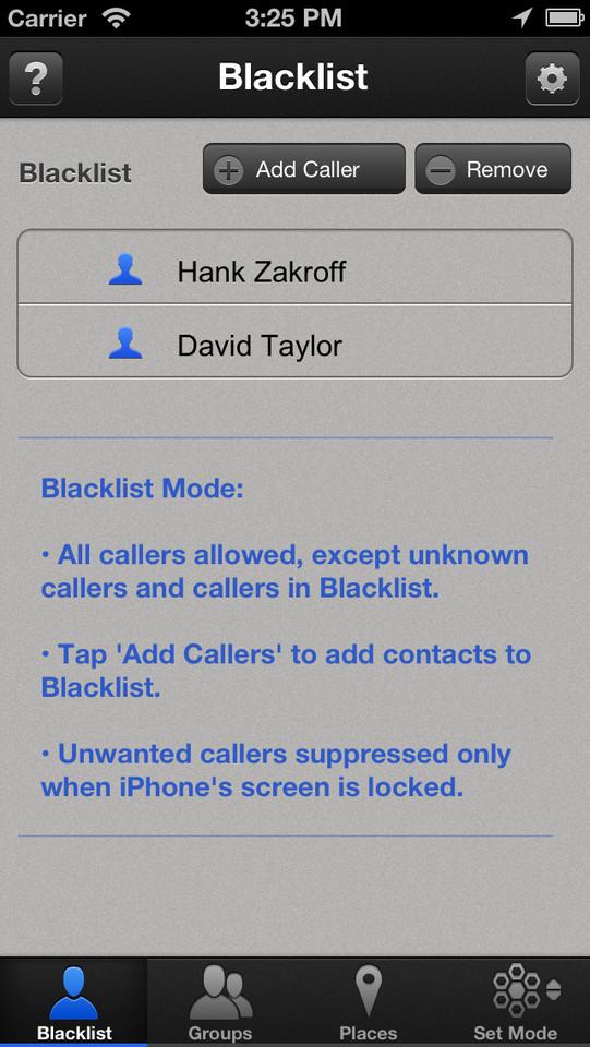 Call Bliss blacklist iPhone