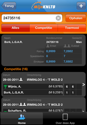 Tennis-apps iPhone MijnKNLTB informatie
