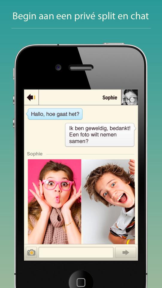 Pixplit chatten met samen een foto