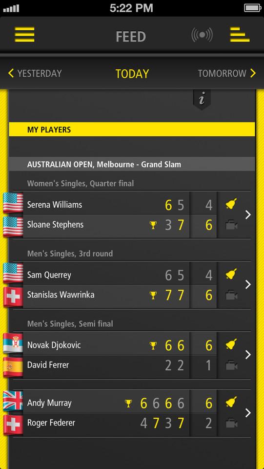 Live Score Tennis wedstrijden vandaag