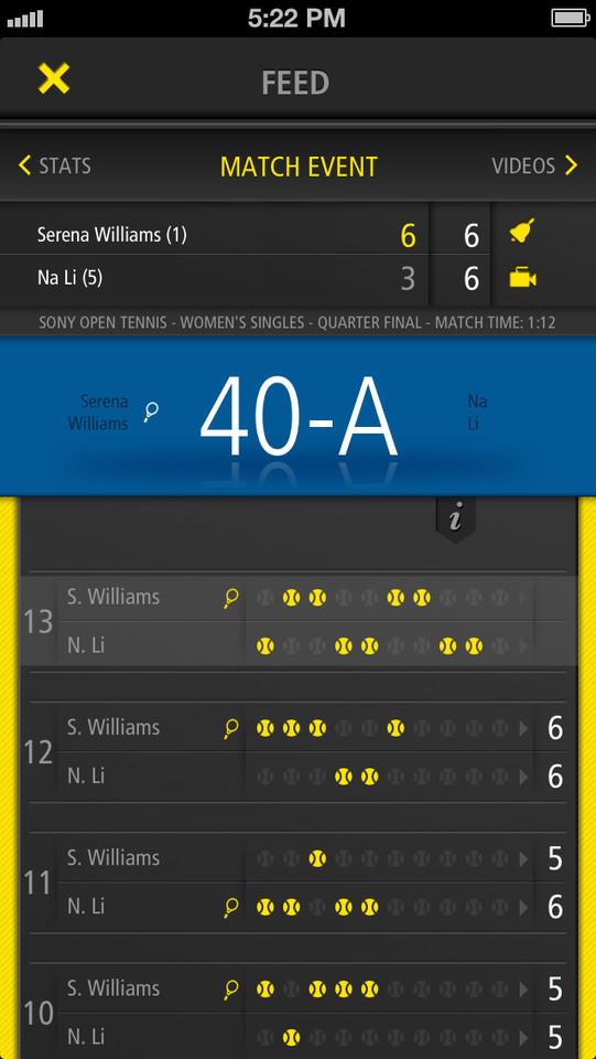 Live Score Tennis wedstrijd volgen