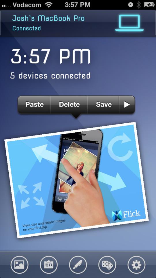 Flick opties voor ontvangen bestand