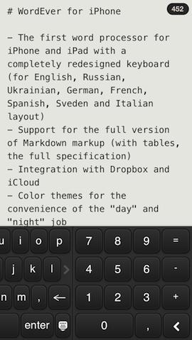 WordEver toetsenbord rechts