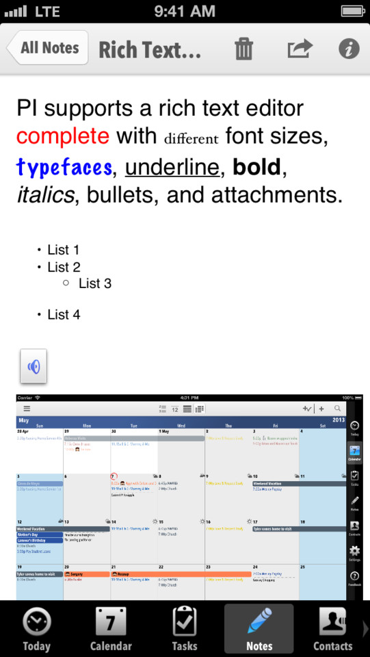 Pocket Informant rich text editor iPhone