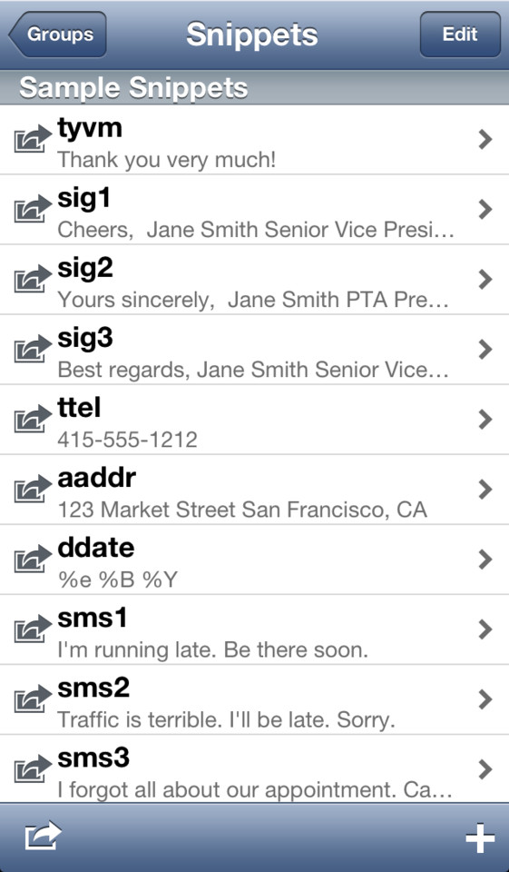 TextExpander iPhone snippets