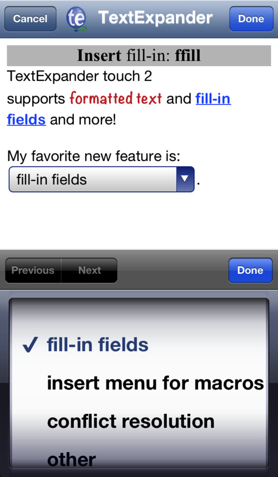 TextExpander fill-in snippet iPhone