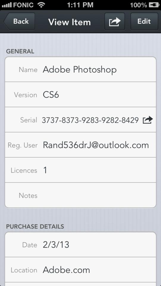 Serial Plus iPhone software garantiebewijs