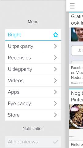 Bright hoofdmenu linkerkant iPhone-app