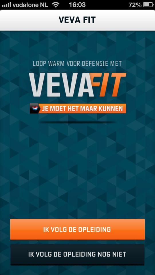 VeVaFit hoofdscherm