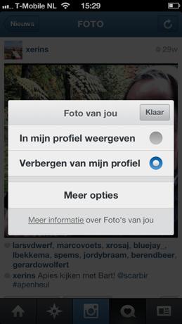 Instagram tag van foto verbergen