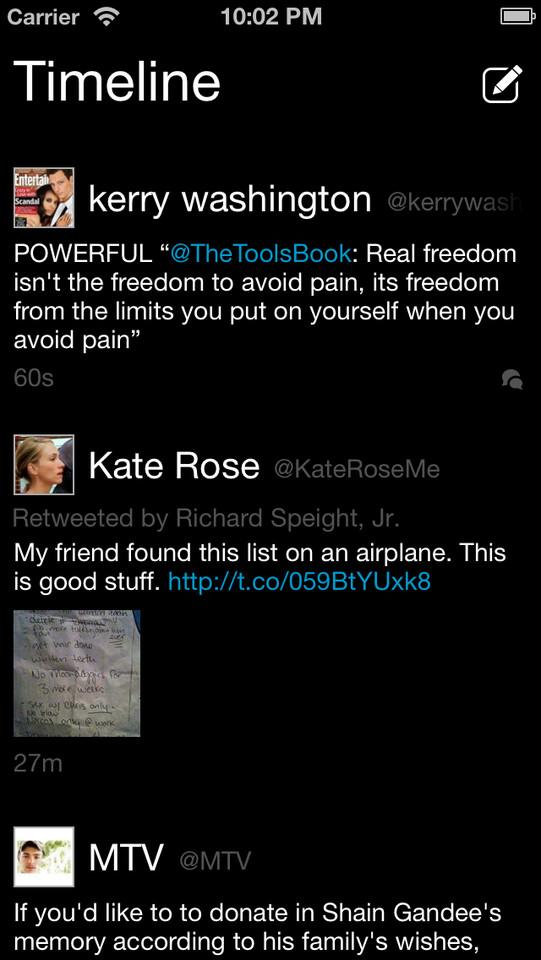 Tweetie timeline iPhone-app