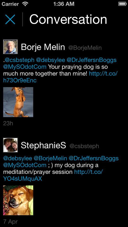 Tweetie iPhone conversatie
