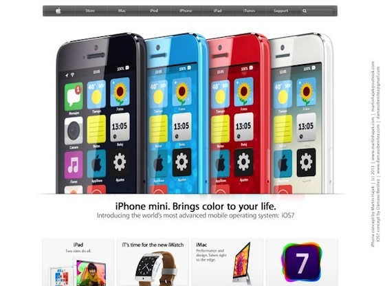iPhone mini iOS 7 frontpage