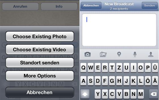 WhatsApp 3.0 nieuw bericht uitzenden