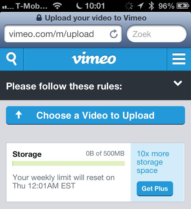 Safari Vimeo video upload