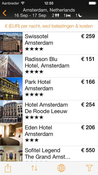Hotels boeken iPhone Kayak Pro