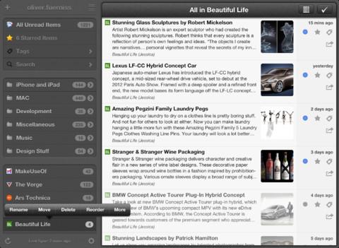 Mr. Reader iPad grijze interface