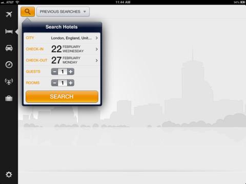 KAYAK iPad zoeken op hotels