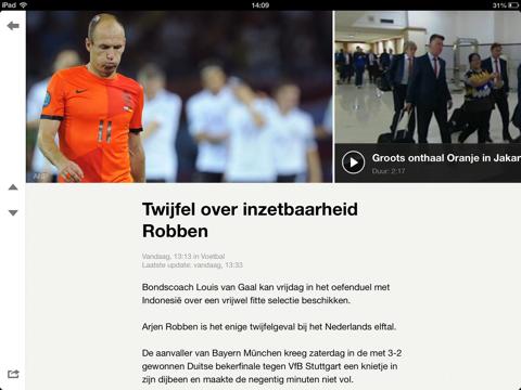 NOS iPad-app bericht Robben
