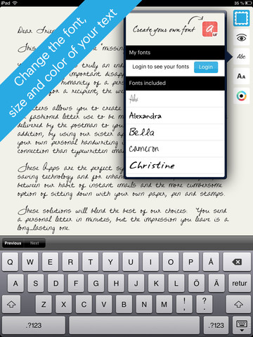 urLetters brief schrijven lettertype kiezen