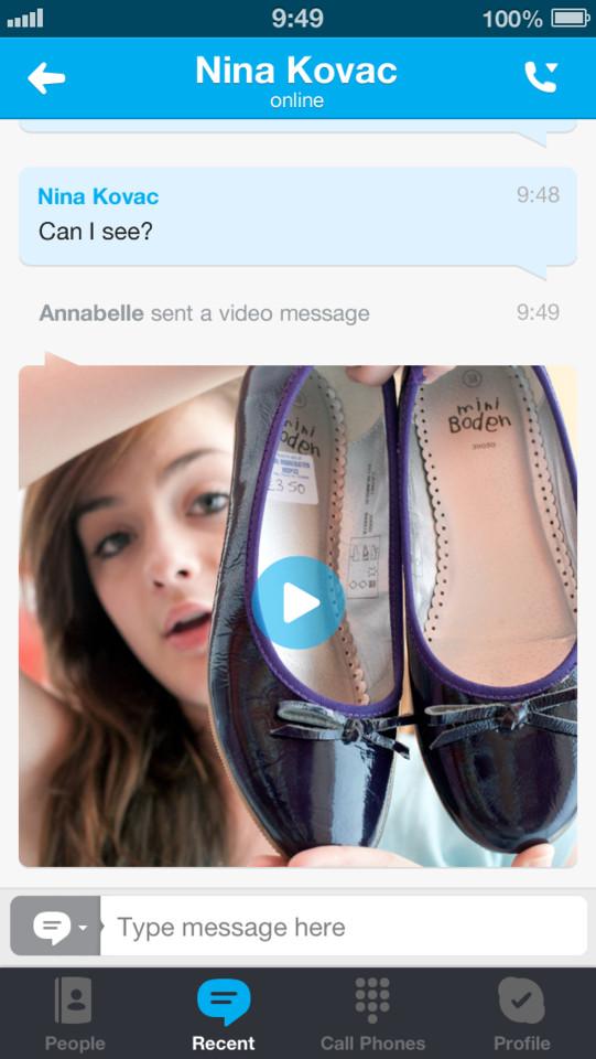 Skype videobericht versturen
