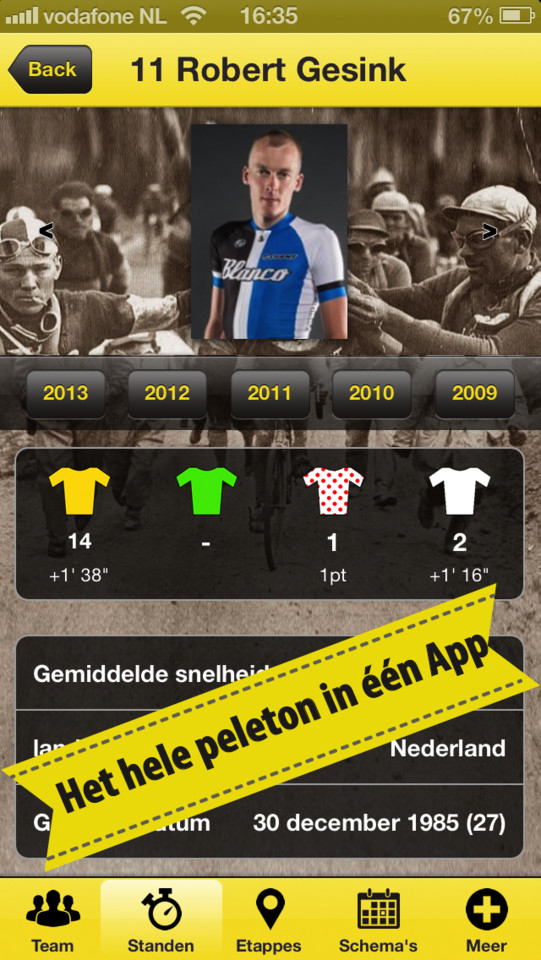 Le Tour 2013 spelers informatie iPhone