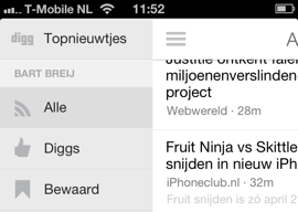 Digg Reader iPhone header