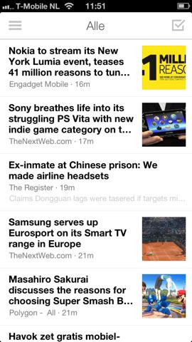 Digg Reader nieuwsoverzicht