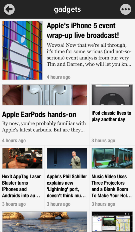 Newsify overzicht krantenlayout