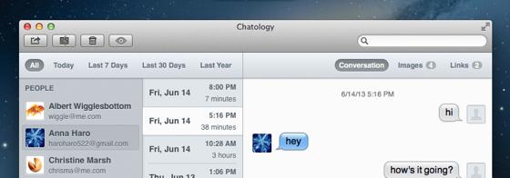 Chatology Mac-app berichten doorzoeken