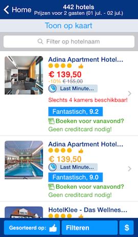 Booking.com iPhone lijstweergave