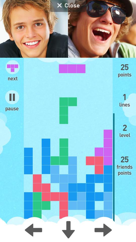Rounds videochat Tetris