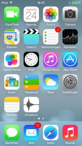 ios 7 beta 2 startscherm