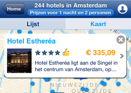 Booking.com header hotel boeken met iPhone