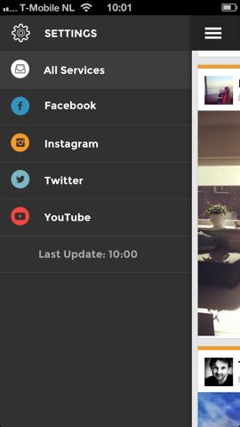 Socialblend schuifmenu iPhone