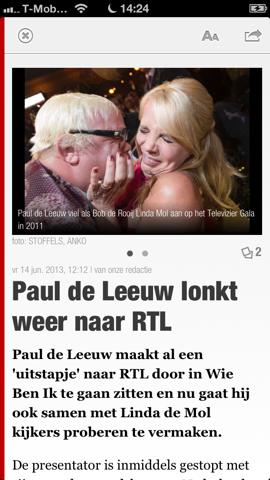 De Telegraaf HD artikel