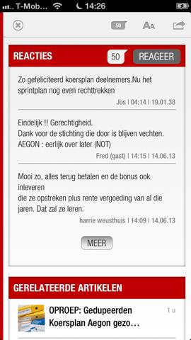 De Telegraaf HD iPhone reacties