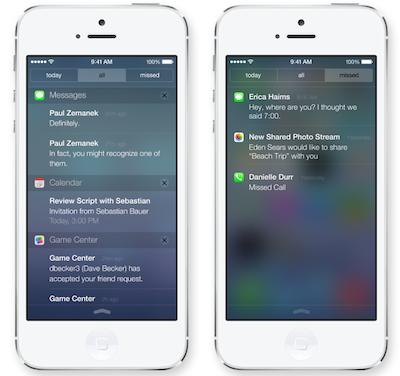iOS 7 Berichtencentrum