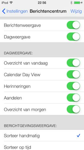 Instellingen Berichtencentrum Vandaag iOS 7