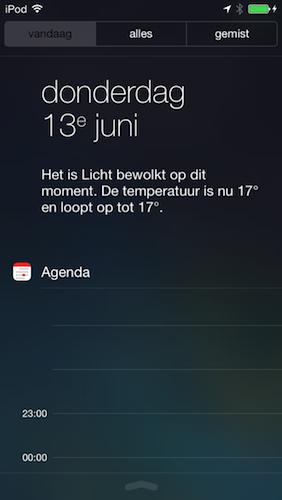 Berichtencentrum Vandaag iOS 7