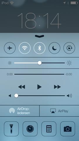 Control Center iOS 7 ontgrendelscherm