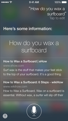 iOS 7 Siri zoekresultaten