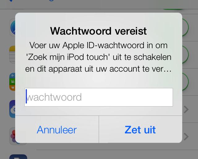 iCloud wachtwoord Zoek mijn iPhone