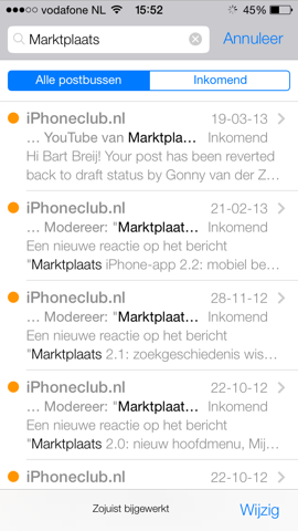 Mail iOS 7 zoeken