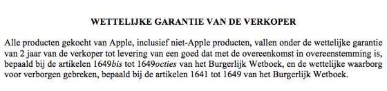 garantie wettelijk belgie