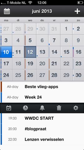 Pocket Calendar agenda met swipe