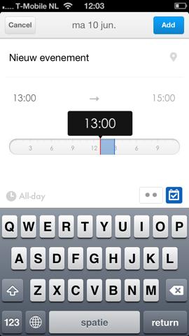 Pocket Calendar tijd instellen