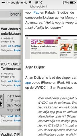 Safari iOS 7 teruggaan naar vorige pagina